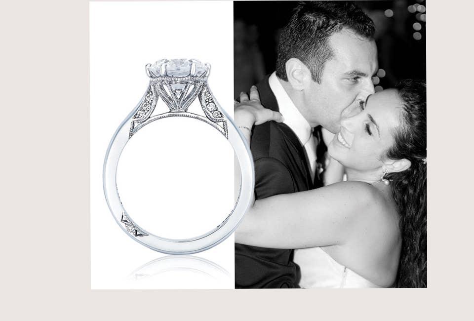 Nadine's wedding photo and Simply Tacori ring