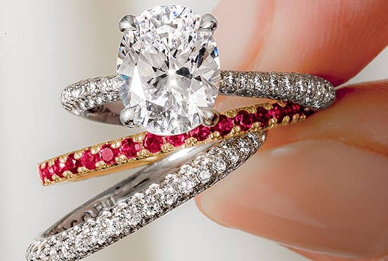Red Ruby Wedding Band and Engagment Ring Combination