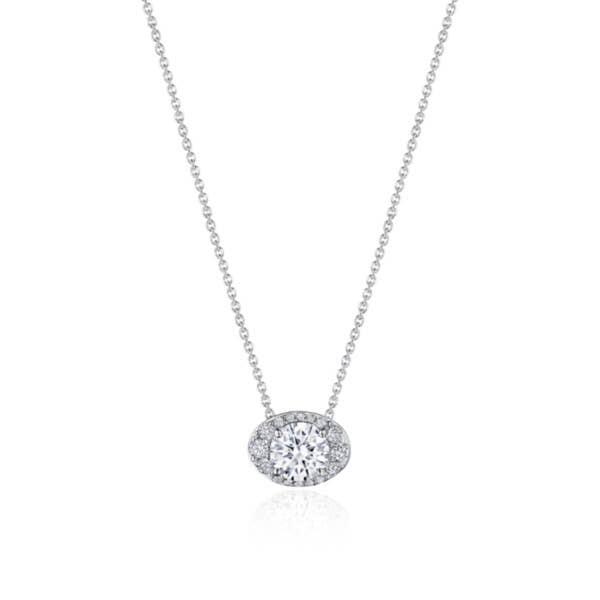 "17"" Horizontal Oval Bloom Diamond Necklace"