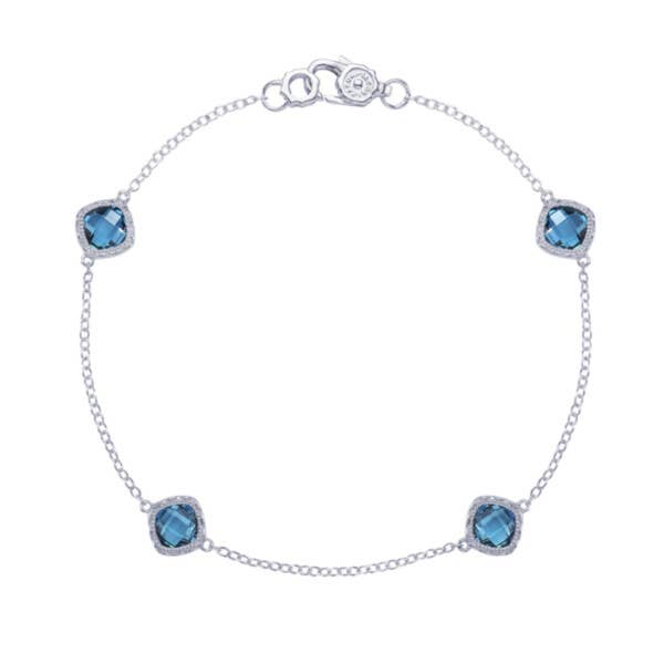 4-station bracelet with London Blue Topaz