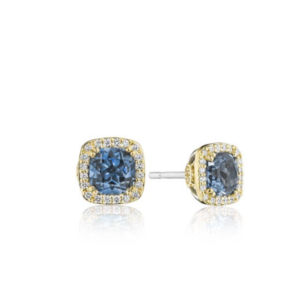 Cushion Bloom Gemstone Earrings with Diamonds and London Blue Topaz