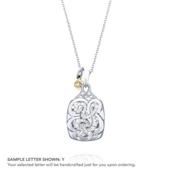 Petite Monogram Diamond Initial Pendant in Silver | SN223