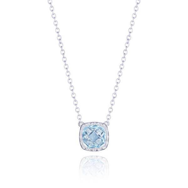 Petite Cushion Gem Necklace with Sky Blue Topaz