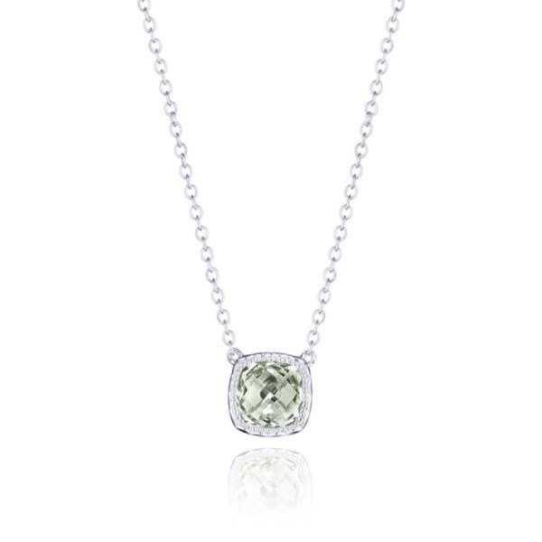 Petite Cushion Gem Necklace with Prasiolite