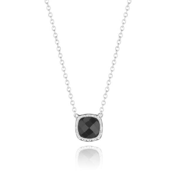 Petite Cushion Gem Necklace with Black Onyx