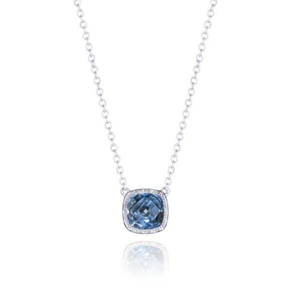 Petite Cushion Gem Necklace with London Blue Topaz