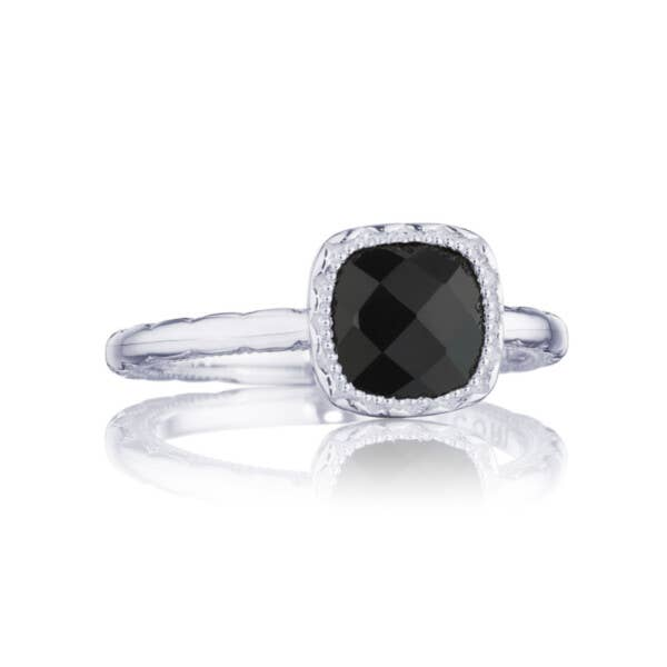 Petite Cushion Gem Ring with Black Onyx