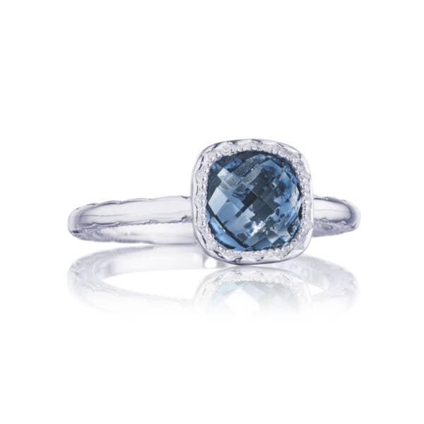 Petite Cushion Gem Ring with London Blue Topaz