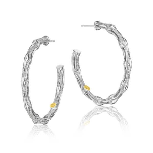 Bold Silver Crescent Hoop Earrings