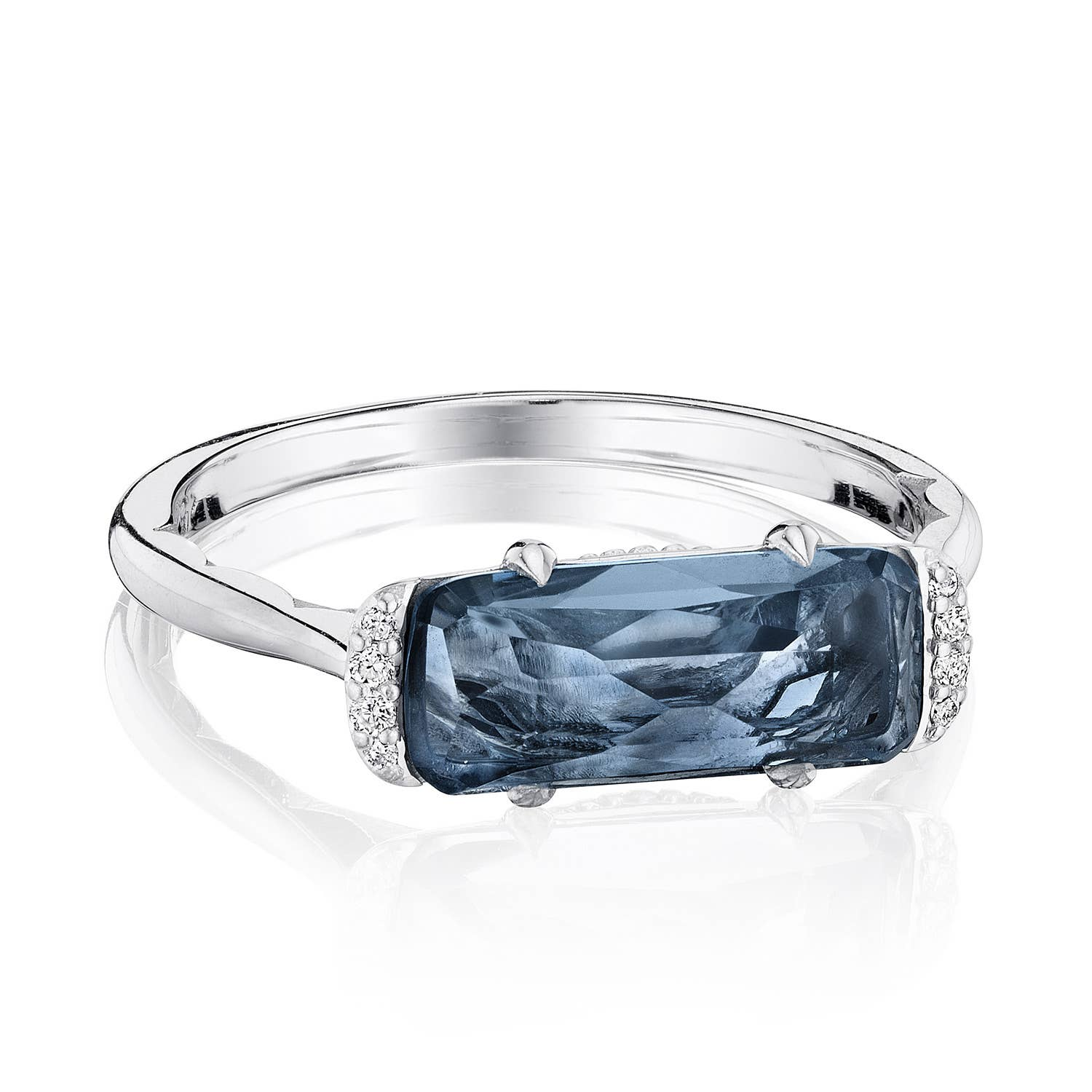 Details about  /Solitaire With Accents Trillion Cut Blue Topaz 925 Silver Engagement Ring