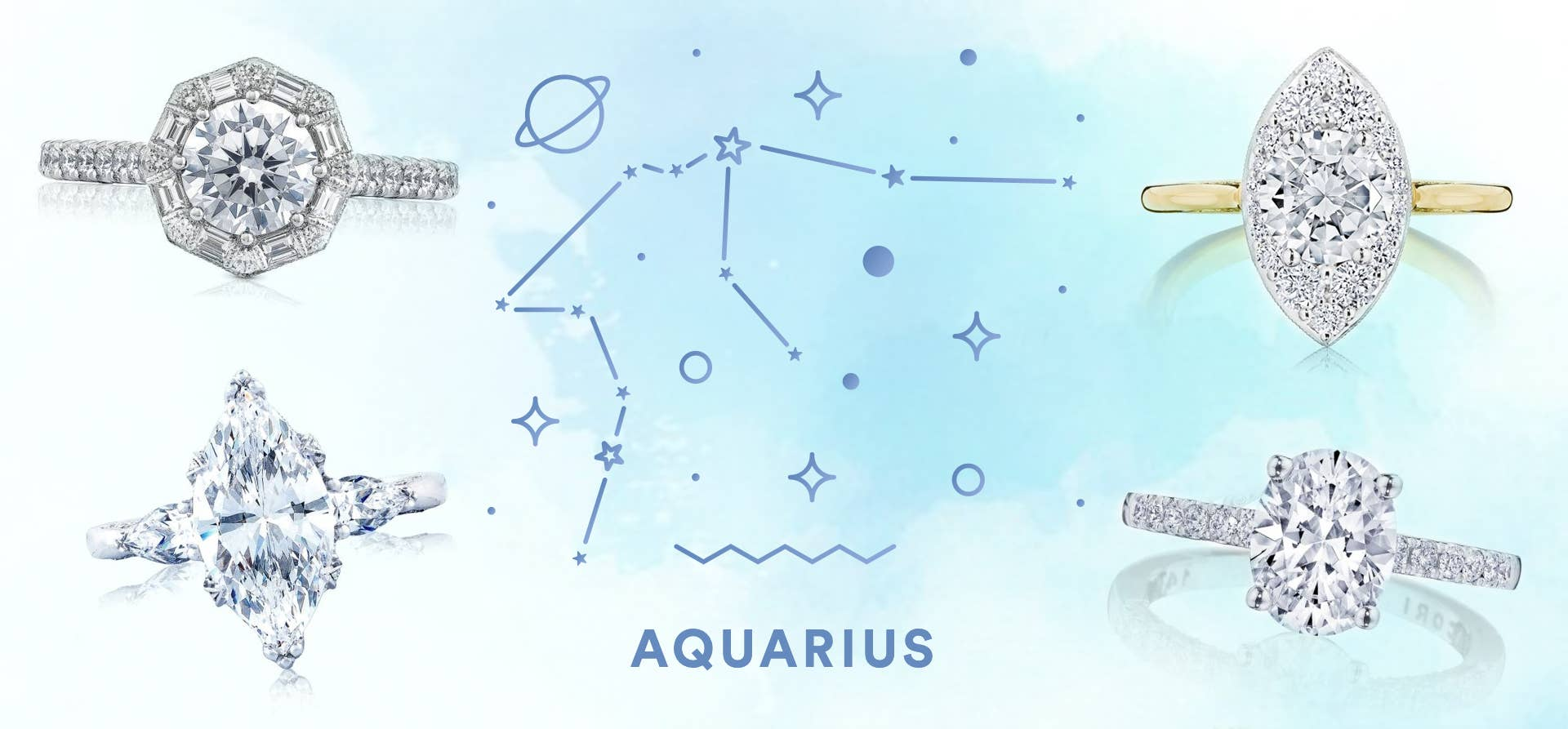 Aquarius graphic featuring 4 different Tacori engagement rings