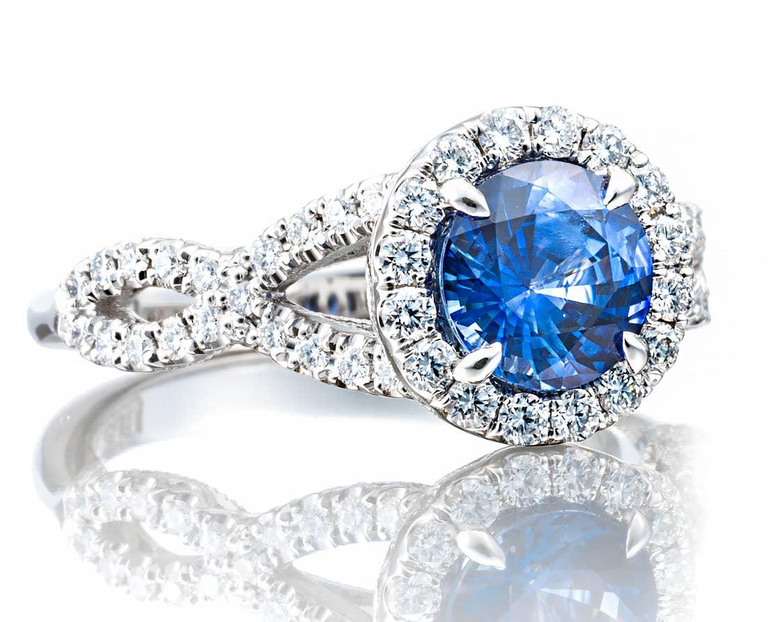 Blue center stone engagement ring by Tacori.com