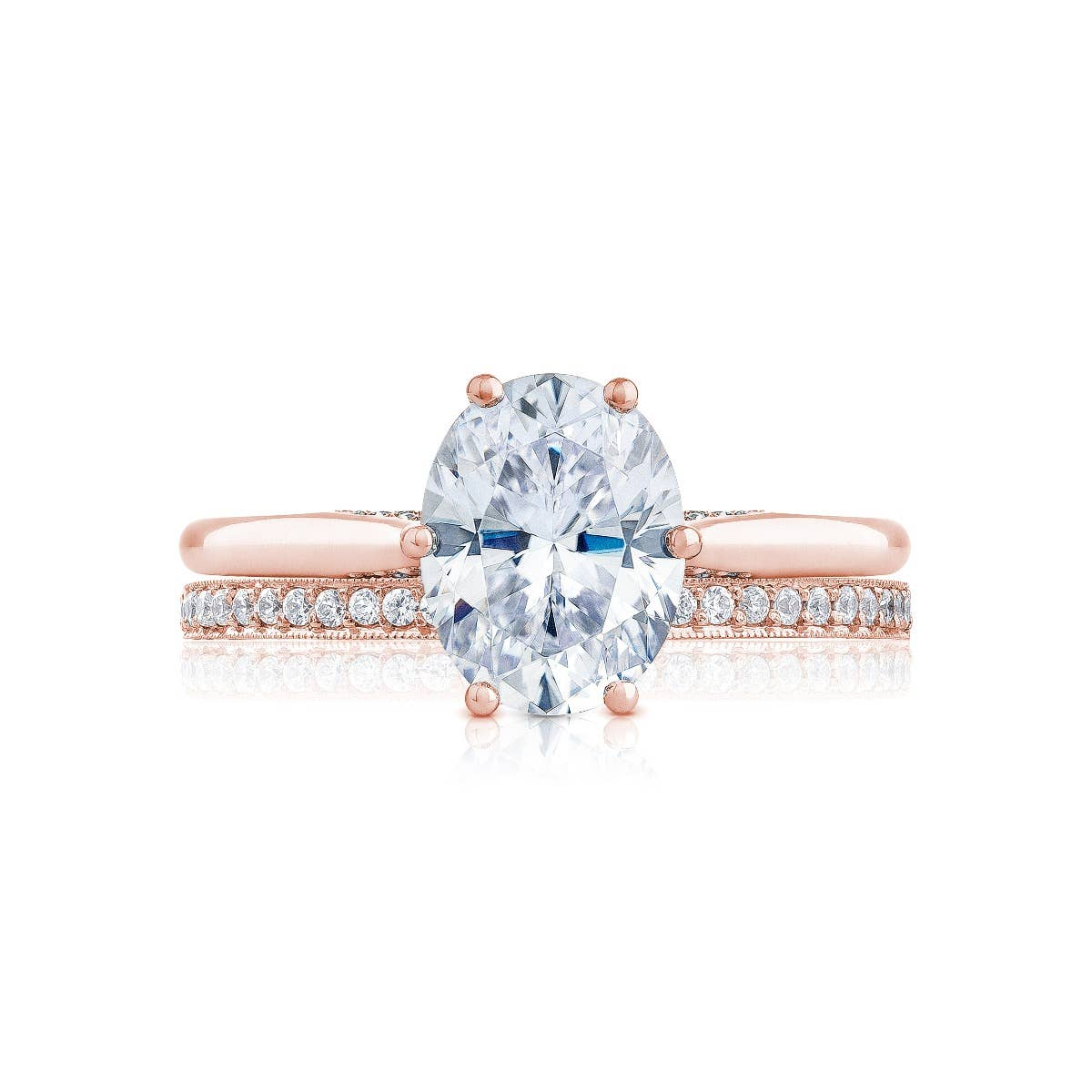 Rose Gold engagement ring by Tacori on white background