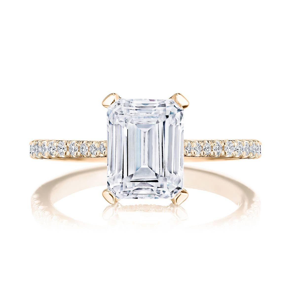 Emerald cut engagement ring by Tacori on white background