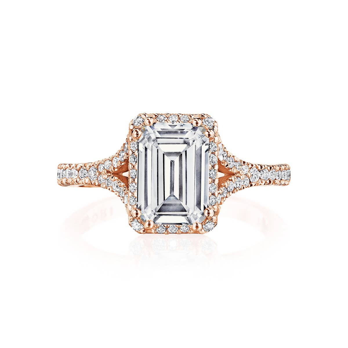 Rose gold bloom engagement ring from Tacori's Crescent Chandelier collection