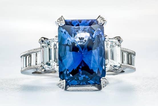 Emerald cut custom sapphire ring by Tacori