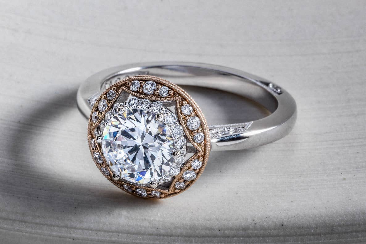 Close up of Tacori's Crescent Chandelier ring