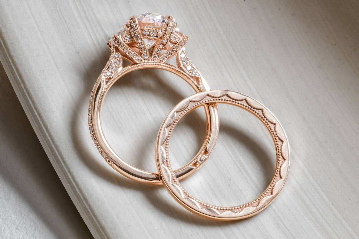 Close up of Tacori's RoyalT HT2655OV ring and matching band in gold