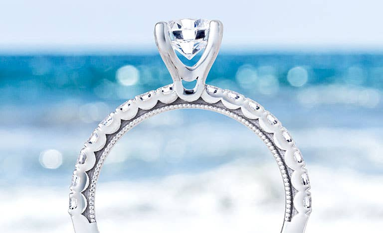 Clean Crescent Engagement Rings