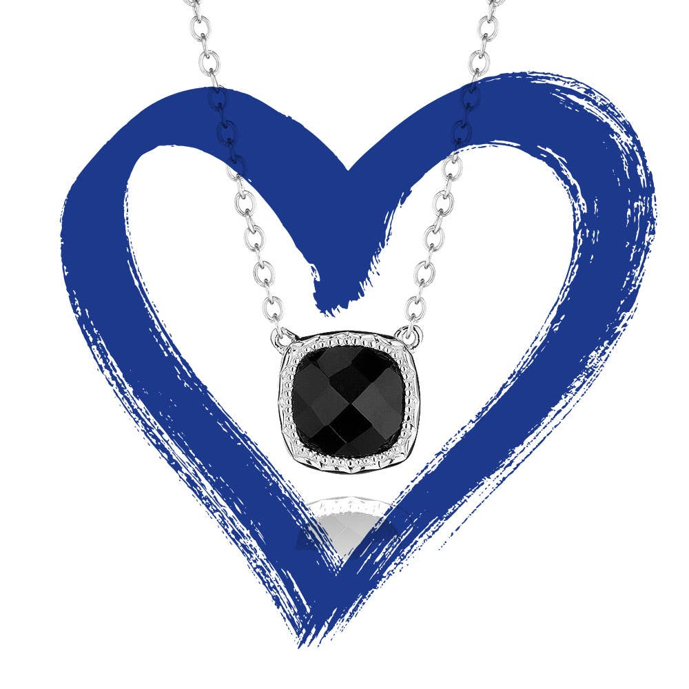 Petite Cushion Gem Necklace in Black Onyx