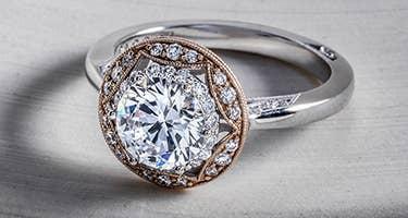 Vintage inspired Tacori engagement ring close up