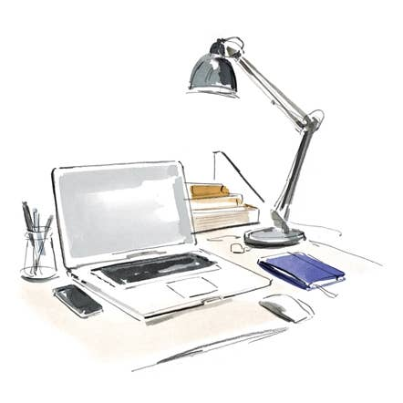 Watercolor image of laptop, desk workstation