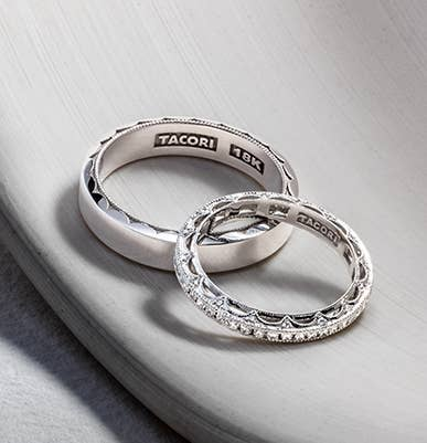 Matching set of platinum Tacori wedding bands